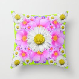 Chartreuse Green Color Shasta Daisies & Rose Pattern Throw Pillow