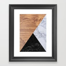 Marble Granite Wood Framed Art Print