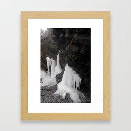 Coastal Waterfall Ice Framed Art Print