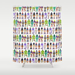 Superhero Butts - Power Couple on Violet Shower Curtain