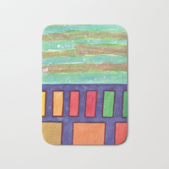 Building with colorful Windows Bath Mat