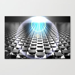 blue field with cubes Canvas Print