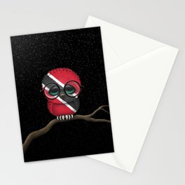 Baby Owl with Glasses and Trinidadian Flag Stationery Cards