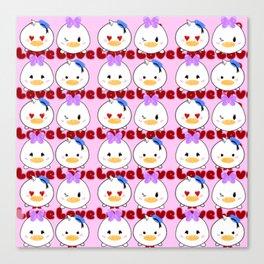 Duck Love Tsum Tsum pattern Canvas Print