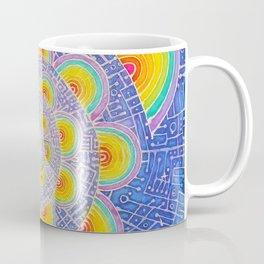 Rainbow Mandala Colorful Psychedelic Trippy Spiral Tapestry Painting Batik (Triametes Versicolor) Coffee Mug