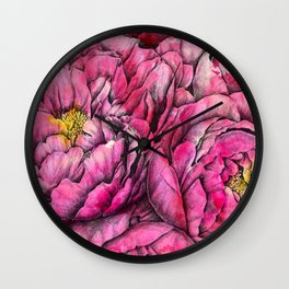 Peonies three pink Wall Clock
