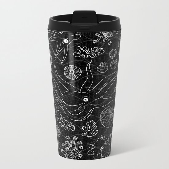 Cephalopods - Black and White Metal Travel Mug