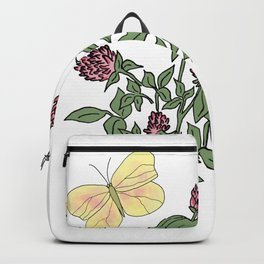Yellow Butterfly among the Red Clovers Wild Flowers Backpack