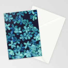 Hand Painted Floral Pattern in Teal & Navy Blue Stationery Cards