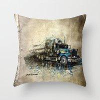 truck Throw Pillows featuring Truck by Svetlana Sewell