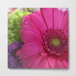 Pink Daisy Floral Bouquet Metal Print