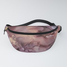 Ink Swirls Painting Lavender Plum Gold Flow Fanny Pack