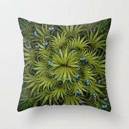 """El Bosco fantasy, tropical island blue butterflies"" Throw Pillow"