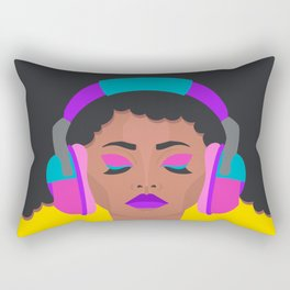 More Music: Woman with Headphones Rectangular Pillow