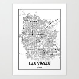 Minimal City Maps - Map Of Las Vegas, Nevada, United States Art Print