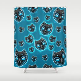 Cute Skulls Black Cat Shower Curtain