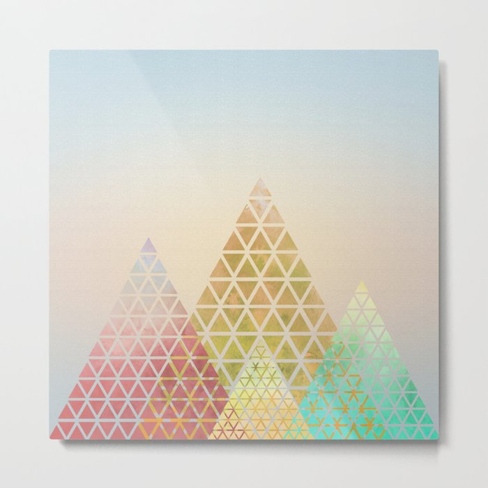 Geometric Christmas Trees 2 Metal Print