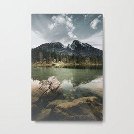 moody morning Scenery at Hintersee Lake Metal Print