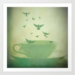 Morning Flight Coffee Tea Bird Flying Dream Surreal Home Kitchen Art Art Print
