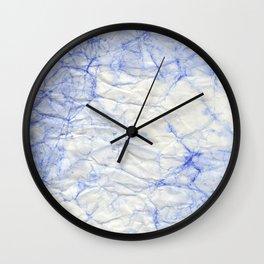 blue crumpled paper Wall Clock