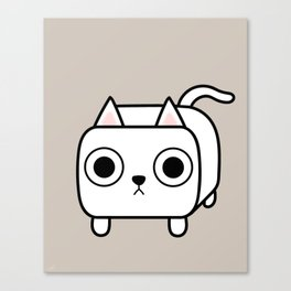 Cat Loaf - White Kitty Canvas Print