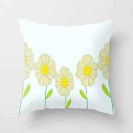 Five Daisies Throw Pillow