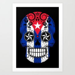 Sugar Skull with Roses and Flag of Cuba Art Print