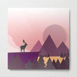 Deer on a hill Metal Print