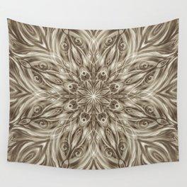 off white sepia swirl mandala Wall Tapestry