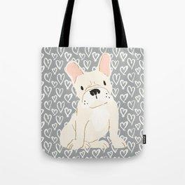 Cream French Bulldog and Hearts Tote Bag