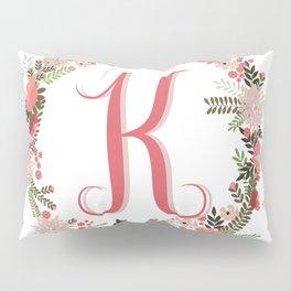 Personal monogram letter 'K' flower wreath Pillow Sham