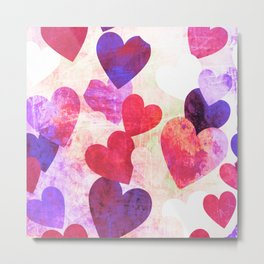 Fab Pink & Purple Grungy Hearts Design Metal Print
