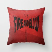daenerys Throw Pillows featuring House Targaryen - Fire and Blood by Jack Howse