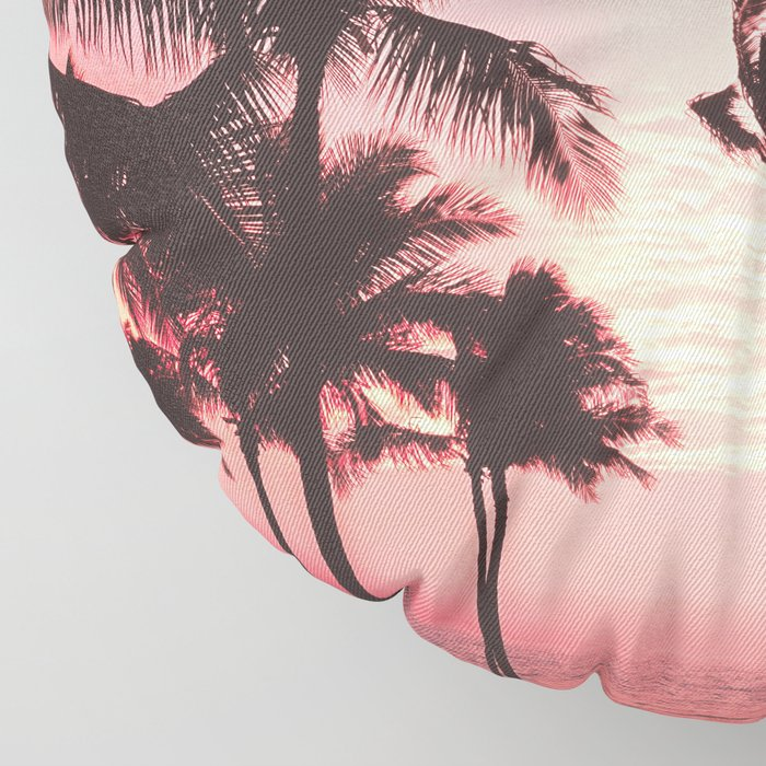 Tropical Palm Tree Pink Sunset Floor Pillow