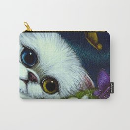 SPRING WHITE PERSIAN CAT with ODD EYES & BUTTERFLIES Carry-All Pouch