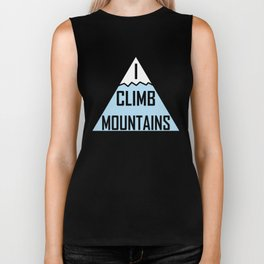 I Climb Mountains Blue Biker Tank