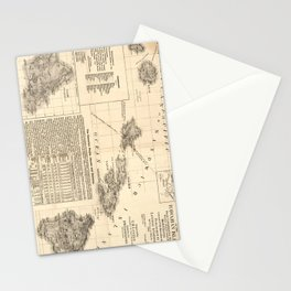 Vintage Map of Hawaii (1893) Stationery Cards