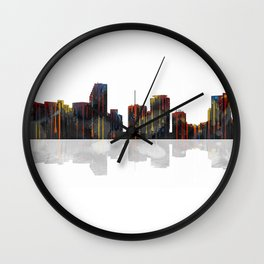 Miami Florida Skyline BW 1 Wall Clock