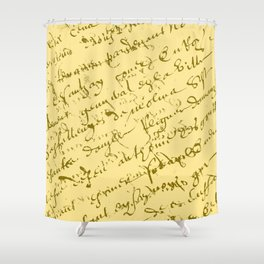 French Script on Yellow Shower Curtain