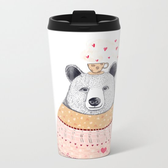 Bear lover of coffee Metal Travel Mug