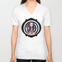 goth V-neck T-shirts featuring Viola  goth by Silviacat