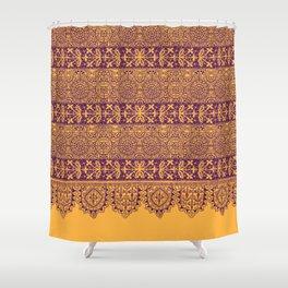crochet lace border in warm mood Shower Curtain