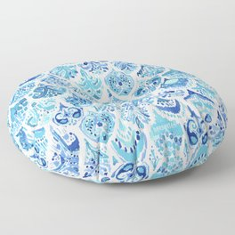 PAISLEY MERMAID Watercolor Scale Pattern Floor Pillow