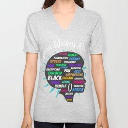 Black Queen Social Workers Rock Magic Diva Gift Design desig graphic Unisex V-Neck