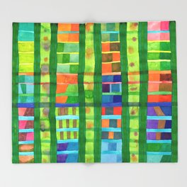 Colored Fields With Bamboo Throw Blanket