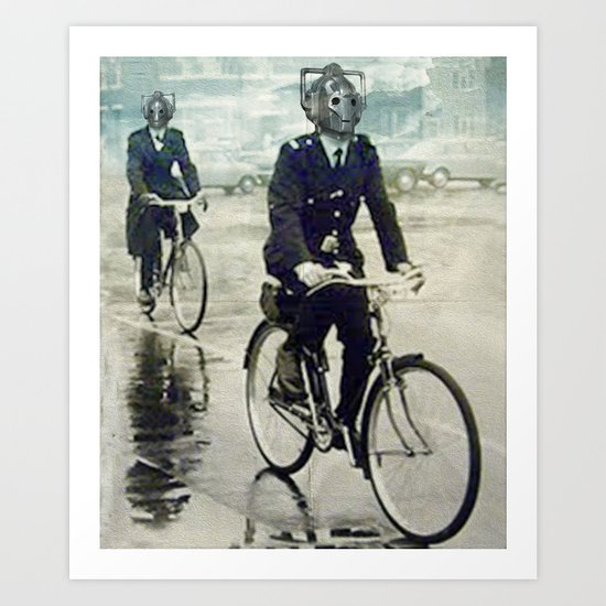 Cybermen on bikes Art Print