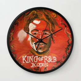 king of r&b,jacquees,music,album cover,lyrics,poster,wall art,decor,rnb,soul,portait,fan,painting Wall Clock