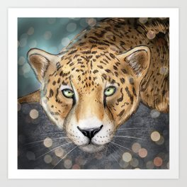 Snow, Leopard Art Print
