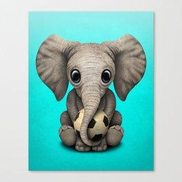 Cute Baby Elephant With Football Soccer Ball Canvas Print