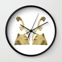 Vintage Rotary Phone – Gold Palette Wall Clock
